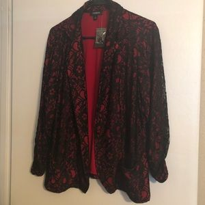 Black and red lace blazer.